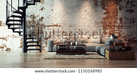 panorama view inside modern vintage loft apartment 3d rendering