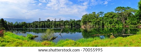 Panorama view of a beautiful quarry lake in Singapore