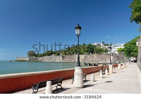 Panorama view of a historical promenade and castle wall
