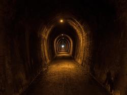 Panorama view of abandoned forgotten lost place Karangahake rail mining tunnel walk loop Waikato New Zealand