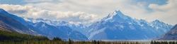 Panorama view of Aoraki Mount Cook National Park, South Island New Zealand
