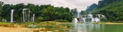 Panorama view of Ban Gioc - Detian waterfall in Vietnam