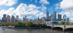 Panorama view of beautiful Melbourne cityscape skyline at afternoon in Australia .
