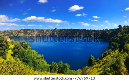 Panorama view of Blue Lake, a volcanic crater at Mount Gambier-South Australia in a sunny day.