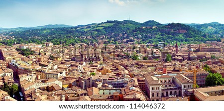 Panorama view of Bologna city in Italy
