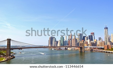 Panorama view of Brooklyn Bridge and Downtown Manhattan in the background