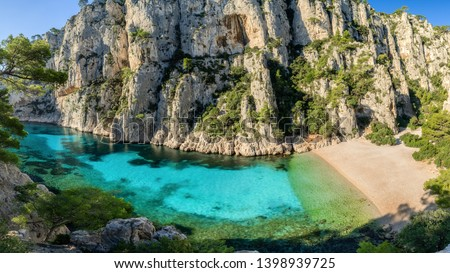 panorama view of Calanque d'En-Vau in Parc national des Calanques national park, Marseille, cassis, france, mediterranean sea Photo stock ©