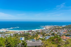 Panorama view of Campsbay, Cape Town, South Africa from the Table Mountain with the Skyline and Ocean