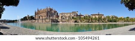 Panorama view of Cathedral Le Seu, Palma de Mallorca, Spain