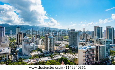 Panorama view of Cityscape and Tantalus Hill in Waikiki, Honolulu, Oahu Island, Hawaii