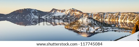 Panorama view of Crater Lake. Oregon, USA - stock photo