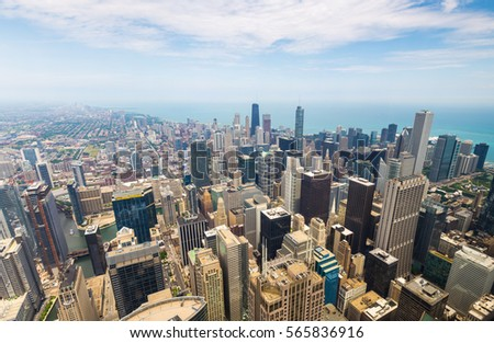 Stock Photo Panorama view of downtown Chicago