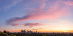 Panorama View of Downtown Los Angeles in Epic Sunset.