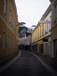 Panorama view of empty charming quaint narrow streets of Scheibbs village town with number twenty decoration in Lower Austria alps Europe