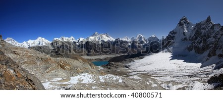 Panorama view of Everest from the Renjo Pass Gokyo region - Nepal