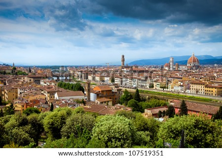 Panorama view of Firenze (Florence) and  the Renaissance Duomo