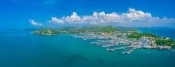 Panorama view of fishing village around the island in Sattahip city, Thailand.