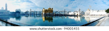 Panorama view of golden emple, the main sanctuary of Sikhs, Amritsar, India