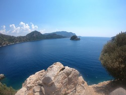 panorama view of Icmeler Bay, aegean and Mediterranean sea. Turkish resort of Marmaris. summer vacation or weekend on sea coast in sunny day . rest on the Turkish coast. Top Turkish resorts.