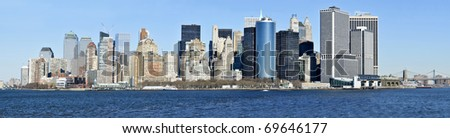 Panorama view of Lower Manhattan skyline seen from Hudson River (New York City)