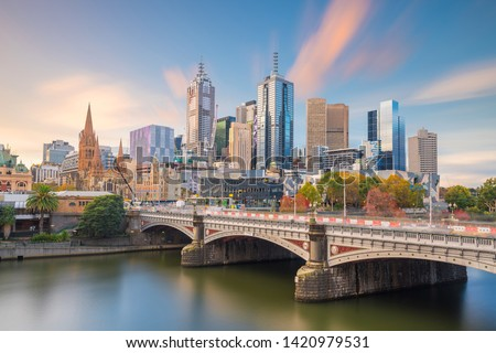Panorama view of Melbourne city skyline at twilight in Australia #1420979531