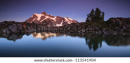 Panorama view of mountain and lake