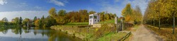 Panorama view of Neuwerk baroque garden in Schleswig with Herkules pond, Gottorfer Globushaus and  autumn avenue, Schleswig-Holstein, Germany, Europe.