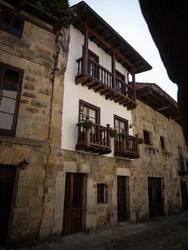 Panorama view of old historic quaint charming medieval architecture village town Santillana del Mar Torrelavega in Cantabria Spain Europe