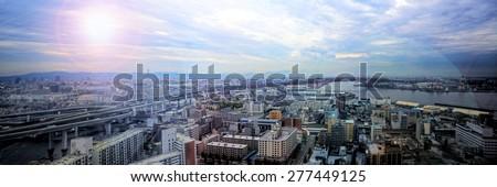 Panorama view of Osaka city in high dynamic range photo.