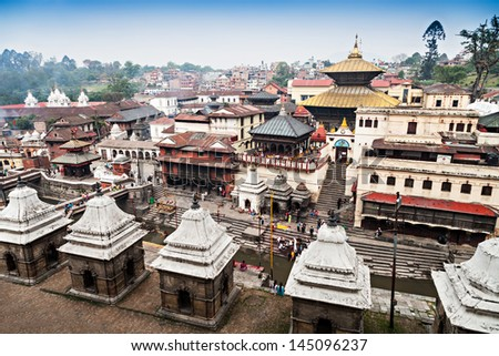 Panorama view of Pashupatinath temple and cremation ghats, Khatmandu