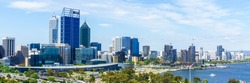 Panorama view of Perth with city central business district at the noon