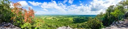 Panorama View of Pha Hua Reua Cliff with Mountain View in Phayao Province, Thailand.