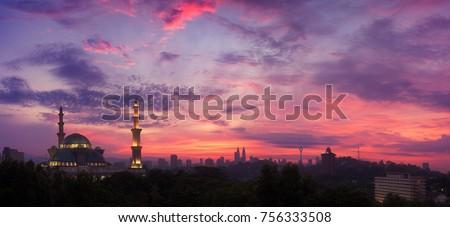 Panorama view of public mosque, Wilayah persekutuan mosque at sunrise in Kuala Lumpur, Malaysia