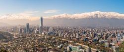 Panorama View of Santiago from Cerro San Cristobal, Chile