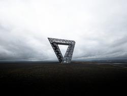 Panorama view of steel structure construction monument coal mining industry memorial Saarpolygon on Bergehalde Duhamel hill in Ensdorf Saarlouis Saarland Germany Europe