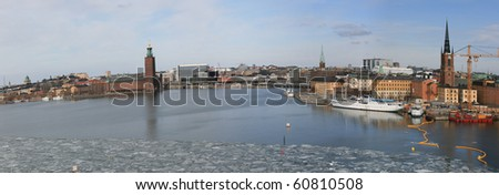 Panorama view of Stockholm city (Sweden) in winter- with details to City Hall.