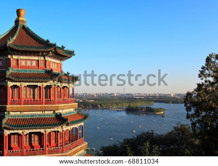Panorama view of Summer Palace and Beijing city. China