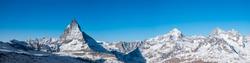 Panorama view of Swiss alp with Matterhorn peak in sunny day Zermatt Switzerland