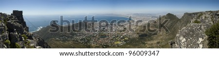 Panorama view of Table Bay from Table Mountain, Cape Town, South Africa