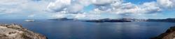 Panorama view of the caldera island of Santorini