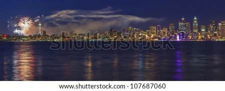 Panorama view of the City of Seattle on the Fourth of July