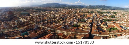 Panorama view of the Florence city, including Basilica of St Lawrence - stock photo