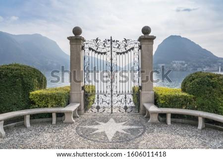 Panorama view of the lake Lugano from the Ciani park, Switzerland Zdjęcia stock ©