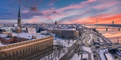 Panorama view of the Riga old town during sunny winter day, Latvia