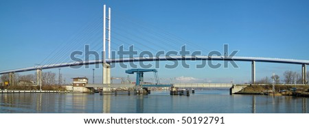 "panorama view of the ""Rugia Bridge"" in Stralsund (Germany)"