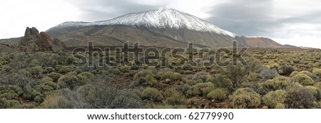 Panorama view of the volcano El Teide (Tenerife, Canary Islands) in winter times
