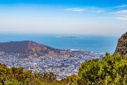 Panorama view of the whole coast of Cape Town, South Africa from Table Mountain.