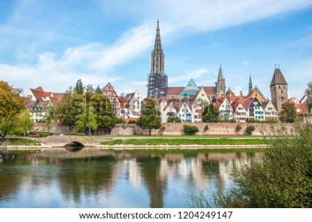 Panorama view of Ulm city center, Germany