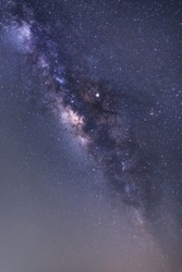 Panorama view of universe space shot of nebula and milky way galaxy with stars on blue night sky. Beautiful scene of Milky Way that contains our Solar System under amazing starry night sky with noise