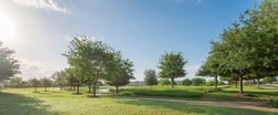 Panorama view of urban park near residential area neighborhood in Sugarland, Texas, US. Beautiful green grass lawn, oak trees and walking/biking path illuminate by sunshine during early spring morning